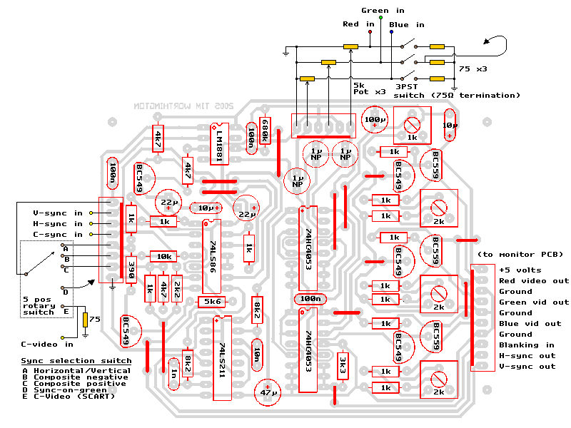 mini test bench rgb monitor pcb component overlay wiring diagram