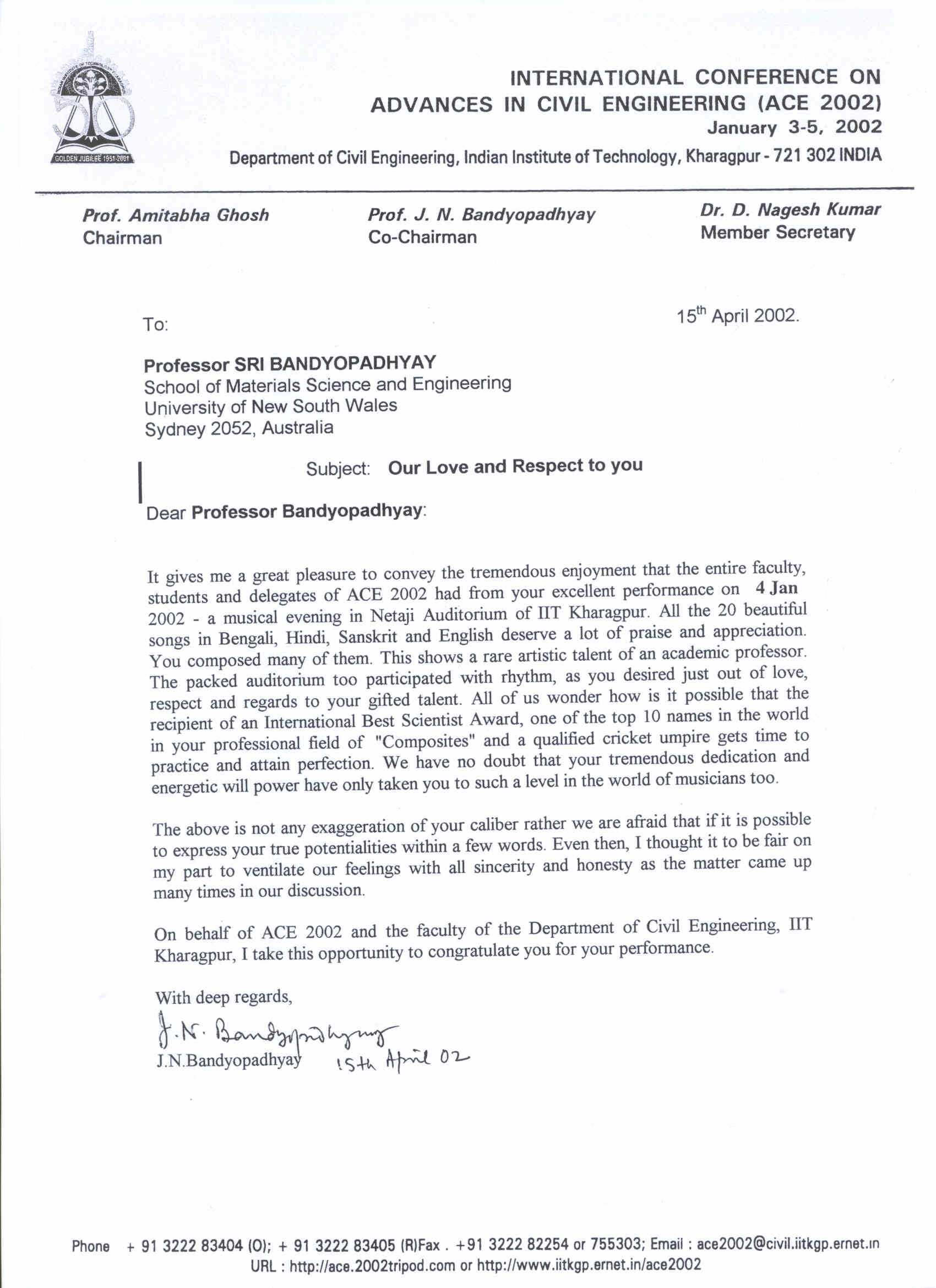 Letter Of Admiration IITKGP Function 02