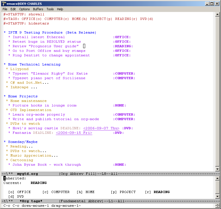 Using Emacs org-mode for GTD